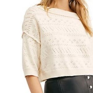 Free people white sands sweater. NWT .
